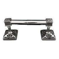 Vicenza Hardware - Fleur De Lis - Spring Toilet Paper Holder in Satin Nickel
