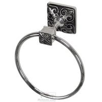 Vicenza Hardware - Fleur De Lis - Towel Ring in Satin Nickel