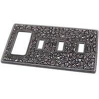 Vicenza Hardware - San Michele - Triple Toggle Single Rocker Combo Switchplate in Satin Nickel