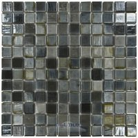 "Vidrepur - Lux - 1"" x 1"" Recycled Glass Tile on 12 3/8"" x 12 3/8"" Meshed Backed Sheet in Black Lux"