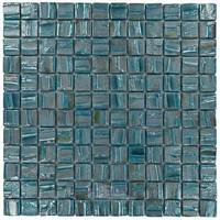 "Vidrepur - Moon - 1"" x 1"" Recycled Glass Tile on 12 3/8"" x 12 3/8"" Mesh Backed Sheet in Blue Planet"