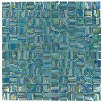 """Vidrepur - Moon - 1"""" x 1"""" Recycled Glass Tile on 12 3/8"""" x 12 3/8"""" Mesh Backed Sheet in Uranus"""