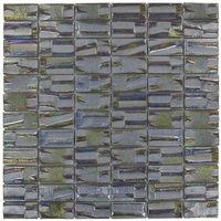 "Vidrepur - Moon - 1"" x 2"" Recycled Glass Tile on 12 3/8"" x 12 3/8"" Mesh Backed Sheet in Super Nova"