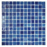 Vidrepur - Anti-Slip - Recycled Glass Tile Mesh Backed Sheet in Fog Navy Blue Slip-Resistant