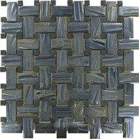 Vidrepur - Moon - Basketweave Recycled Glass Tile in Black Rock