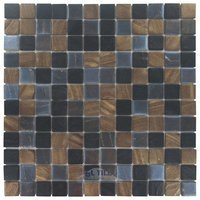 "Vidrepur - Arts - 1"" x 1"" Recycled Glass Tile on 12 1/2"" x 12 1/2"" Mesh Backed Sheet in Java Mix"