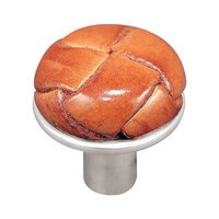 """Vicenza Hardware - Equestre - 1 1/8"""" Button Knob with Leather Insert in Satin Nickel with Black Leather Insert"""