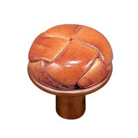 """Vicenza Hardware - Equestre - 1"""" Button Knob with Leather Insert in Satin Nickel with Black Leather Insert"""