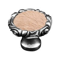 "Vicenza Hardware - Liscio - 1 1/4"" Knob with Small Base and Insert in Satin Nickel with Black Fur Insert"