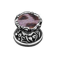 Small Malachite Antique Silver Vicenza Designs K1148P Liscio  Round  Stone Insert  Knob with  Small Base