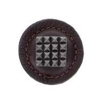 """Vicenza Hardware - Tiziano - 1 1/4"""" Square Knob with Leather Insert in Satin Nickel with Black Leather Insert"""