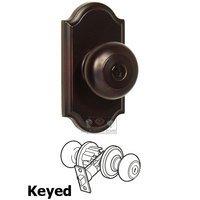 Weslock Door Hardware - Elegance Impresa Knobs - Keyed Knob - Premiere Plate with Impresa Door Knob in Oil Rubbed Bronze