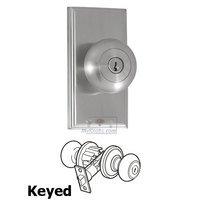 Weslock Door Hardware - Elegance Impresa Knobs - Passage Knob - Woodward Plate with Impresa Door Knob in Satin Nickel