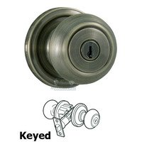 Weslock Door Hardware - Traditionale Savanna Knobs - Savanna Keyed Door Knob in Antique Brass