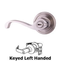 Weslock Door Hardware - Traditionale Calais Levers - Calais Left Handed Keyed Door Lever in Satin Nickel