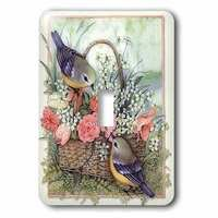 Jazzy Wallplates - Flowers - Single Toggle Switch Plate With Sparrows In A Basket Of Roses