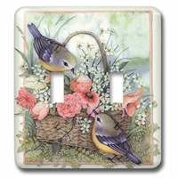 Jazzy Wallplates - Flowers - Double Toggle Switch Plate With Sparrows In A Basket Of Roses