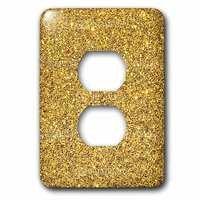 Jazzy Wallplates - Kids - Single Duplex Wallplate With Print Of Gold Sparkles Glitter