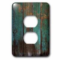 Jazzy Wallplates - Abstract - Single Duplex Wallplate With Teal Distressed Country Wood Effect