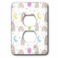 Jazzy Wallplates - Kids - Single Duplex Wallplate With Retro Unicorn Sun Moon And Stars Print