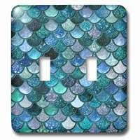 Jazzy Wallplates - Abstract - Double Toggle Wallplate With Mermaid Scales Glitter
