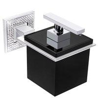 "Zen Designs - Diamond - Wall Soap Dispenser W 4 1/8"" x D 4 1/8"" x H 3 5/6"" in Polished Chrome & Black With Swarovski Crystals"