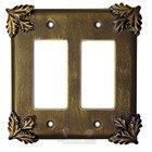 Oak Leaf Switchplate Double Rocker/GFI Switchplate in Bronze Rubbed