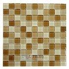 "Distinctive Glass Tile - Color Block - 1"" Color Block Cappuccino 12"" x 12"" Mesh Backed Sheet"