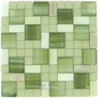 "Distinctive Glass Tile - Marble/Stainless Steel - Marble Mosaic 11 5/8"" x 11 5/8"" Mesh Backed Sheet in White Marble and Bright Green Glossy and White Matte Glass"