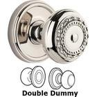 Grandeur Door - Double Dummy Set - Georgetown Rosette with Parthenon Knob in Polished Nickel