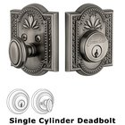 Grandeur Single Cylinder Deadbolt with Parthenon Plate in Antique Pewter