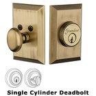 Grandeur Single Cylinder Deadbolt with Fifth Avenue Plate in Vintage Brass