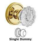 Grandeur Door - Single Dummy Knob - Georgetown Rosette with Fontainebleau Crystal Door Knob in Polished Brass