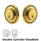 Grandeur Double Cylinder Deadbolt with Soleil Plate in Lifetime Brass