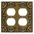 Liberty Kitchen Cabinet Hardware - French Lace Double Duplex Outlet in Burnished Antique Brass