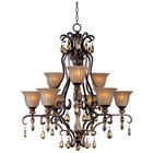 "Maxim Lighting -  34 1/2"" Dresden 9-Light Chandelier in Filbert with Ember Glass"