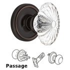 Nostalgic Warehouse - Classic - Complete Passage Set - Classic Rosette with Oval Fluted Crystal Glass Door Knob in Timeless Bronze