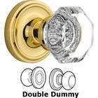 Nostalgic Warehouse - Double Dummy Knob - Classic Rosette with Waldorf Knob in Unlacquered Brass