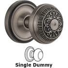 Nostalgic Warehouse - Single Dummy Knob - Classic Rosette with Egg & Dart Door Knob in Antique Pewter
