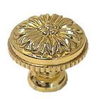 "Omnia Classic and Modern 1 3/16"" Flower Knob in Polished and Lacquered Brass"