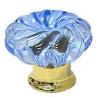 Omnia Industries - Crystal & Glass - 40mm Clear Azure Colored Glass Flower Knob with Polished Brass Base
