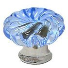 Omnia Industries - Crystal & Glass - 40mm Clear Azure Colored Glass Flower Knob with Polished Chrome Base
