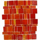 Vicenza Mosaico Glass Tiles - Freedom Glass Tile - Handcut Glass Mesh Mounted Sheets In Rosso