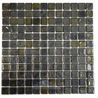 Vidrepur - Titanium - Recycled Glass Tile Mesh Backed Sheet in Brushed Black / Yellow Iridescent